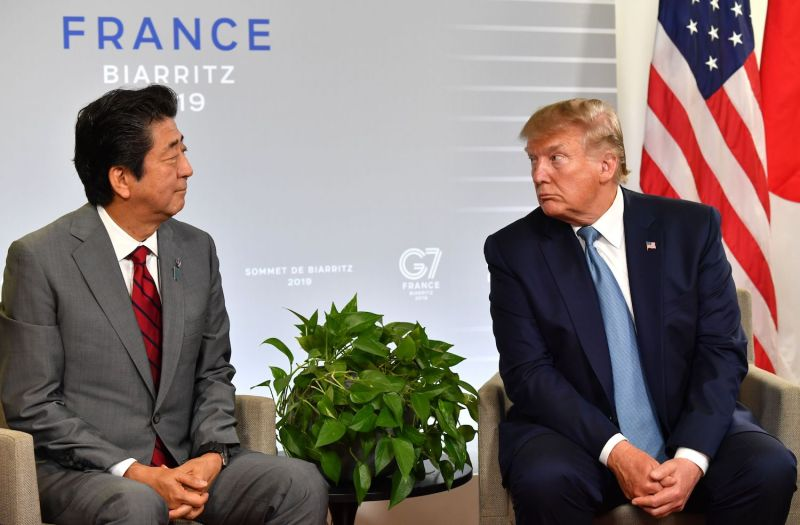 Japanese Prime Minister Shinzo Abe and U.S. President Donald Trump during a bilateral meeting on the sidelines of the G-7 summit in Biarritz, France, on Aug. 25.
