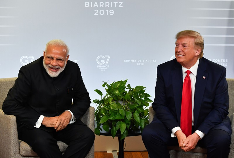Indian Prime Minister Narendra Modi and U.S. President Donald Trump speak during a bilateral meeting in Biarritz, France on August 26.