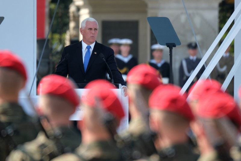 U.S. Vice President Mike Pence addresses NATO member on Sept. 1, the 80th anniversary of the outbreak of World War II, in Warsaw, Poland.