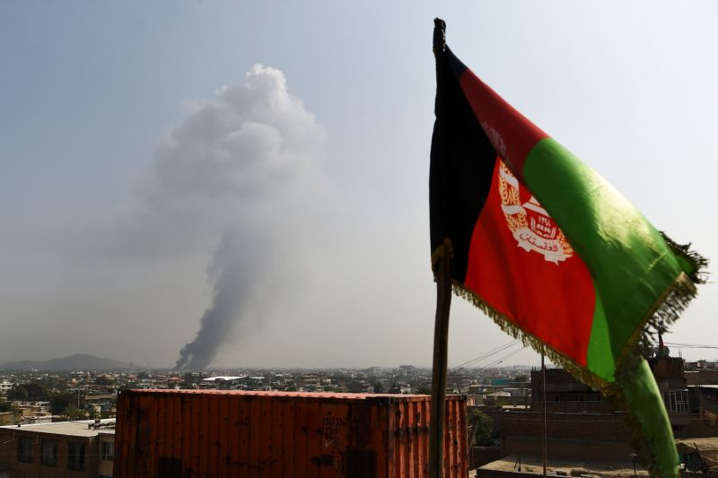 Smoke rises from the site of an attack in Kabul, Afghanistan on Sept. 3.