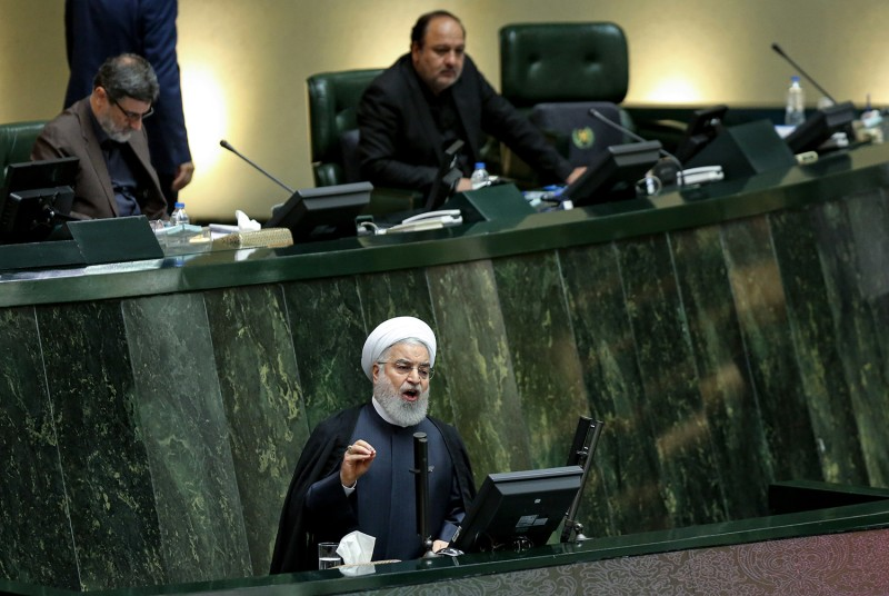 Iran's President Hassan Rouhani speaks at parliament in Tehran on September 3.