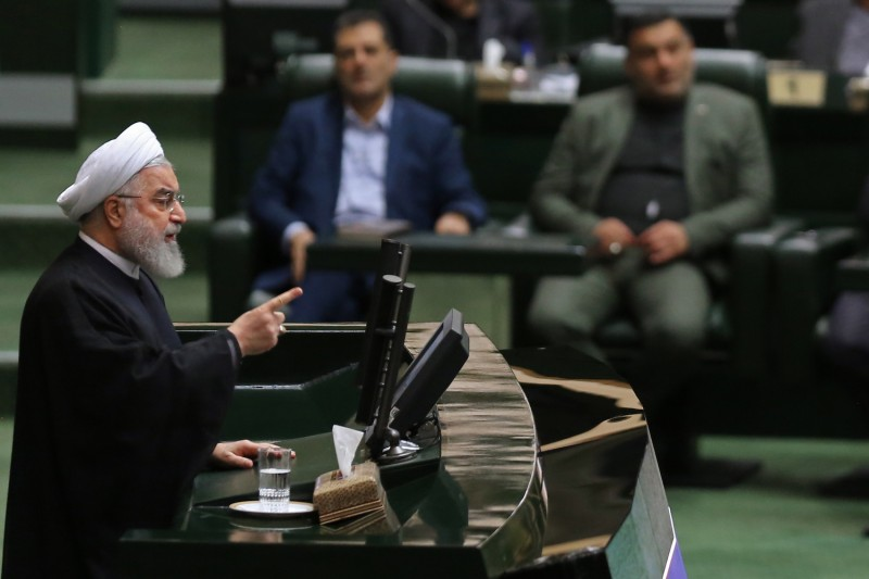 Iranian President Hassan Rouhani addresses lawmakers in Tehran on Sep. 3.