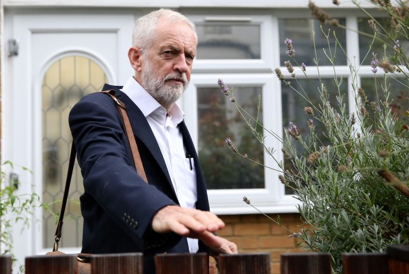 Britain's opposition Labour party leader Jeremy Corbyn leaves his home in north London on September 4, 2019.