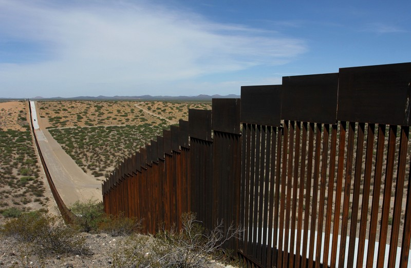 A portion of the wall on the US-Mexico border is seen from Chihuahua State in Mexico on August 28.