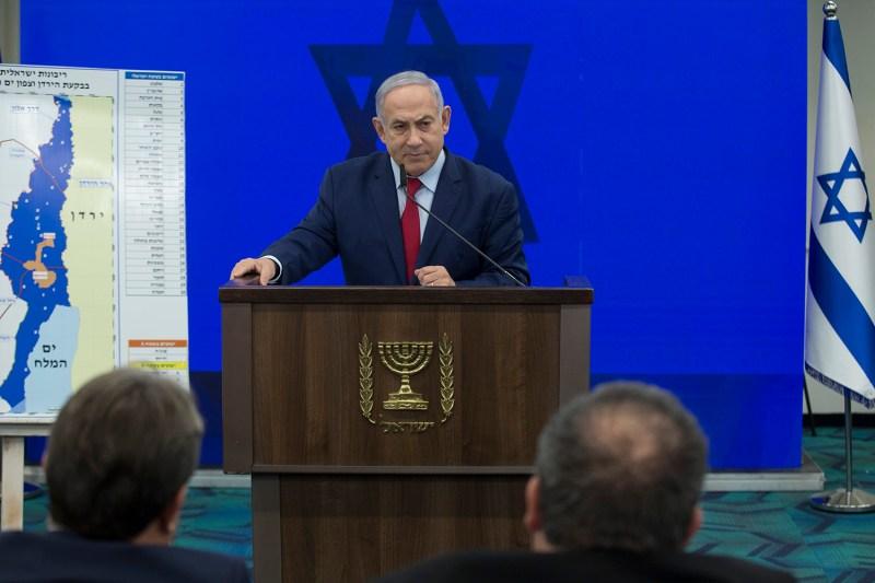 Israeli Prime Minster Benjamin Netanyahu speaks during his announcement on September 10 in Ramat Gan, Israel.
