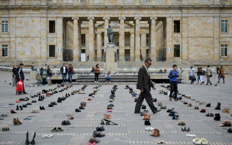 Shoes of Venezuelan migrants are displayed at Plaza Bolívar in Bogotá on Sept. 13.