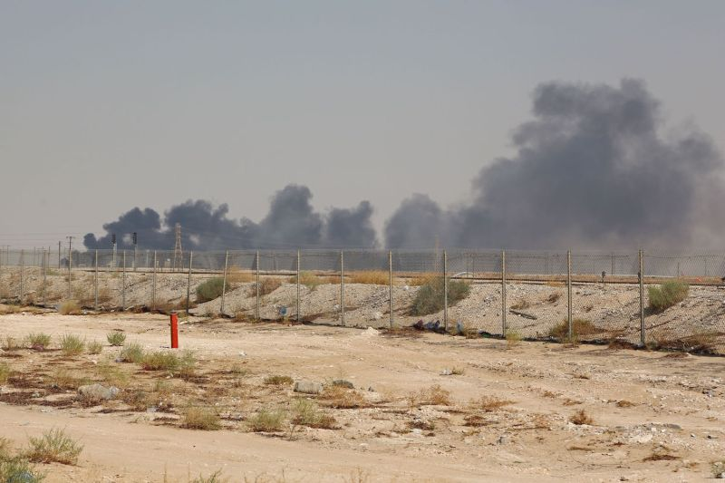 Smoke billows from the massive Aramco facility in Abqaiq after a drone attack claimed by Houthi militants on Sept. 14.