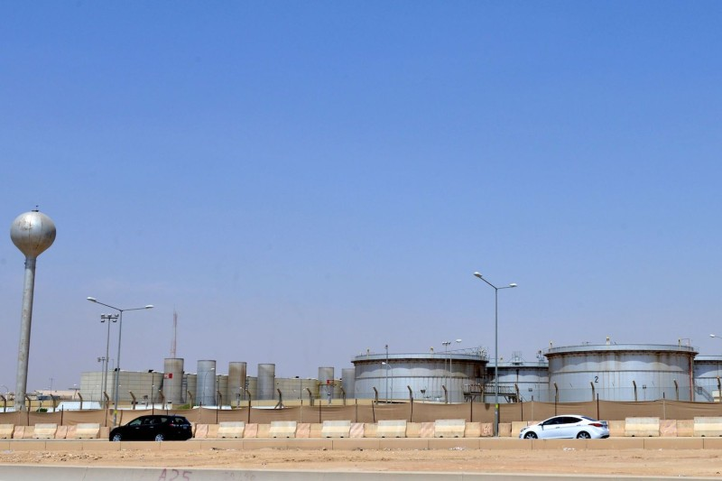 A picture taken on Sept. 15 shows an Aramco oil facility at the edge of the Saudi capital, Riyadh.