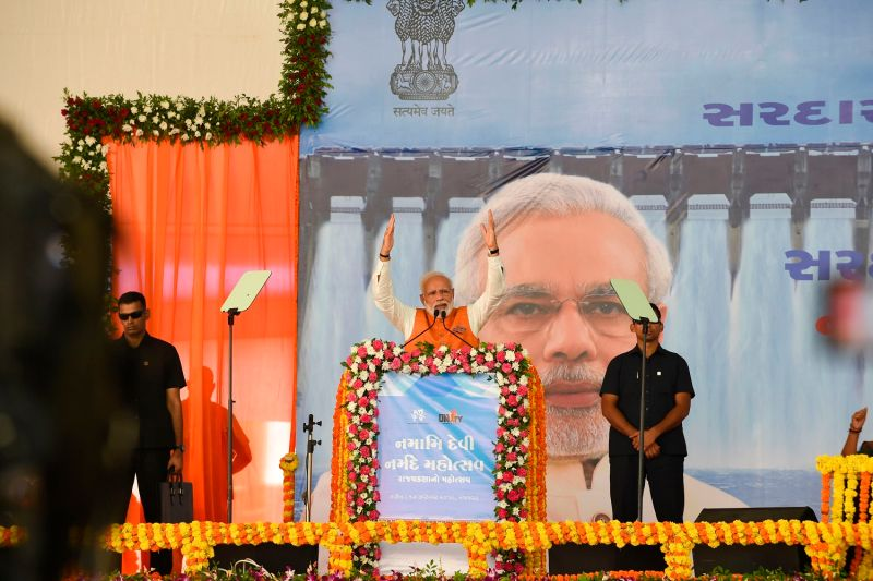 Indian Prime Minister, Narendra Modi gives a speech at the Kevadia Colony of Narmada District in India on Sept. 17.