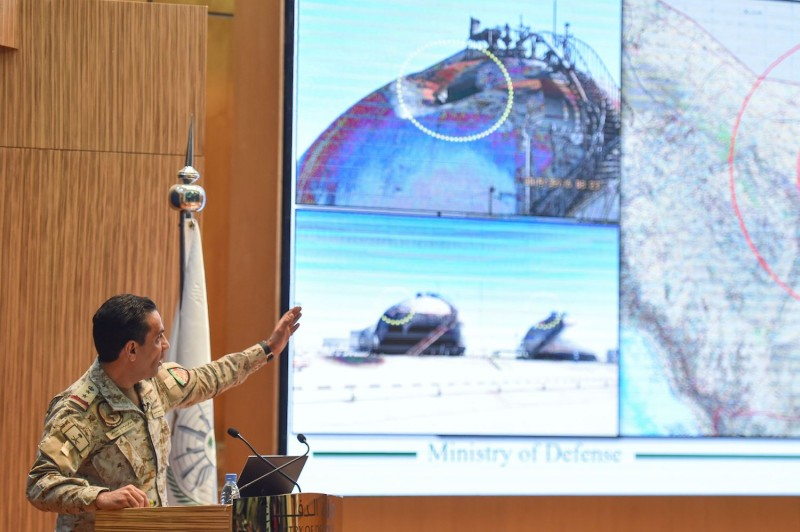Saudi defense ministry spokesman Col. Turki bin Saleh al-Malki speaks during a press conference on Sept. 18 in Riyadh about the recent attacks on Saudi Aramco's facilities in Abqaiq and Khurais.