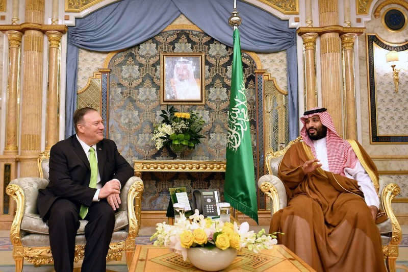 U.S. Secretary of State Mike Pompeo takes part in a meeting with Saudi Arabia's Crown Prince Mohammed bin Salman in Jeddah, Saudi Arabia on September 18, 2019.