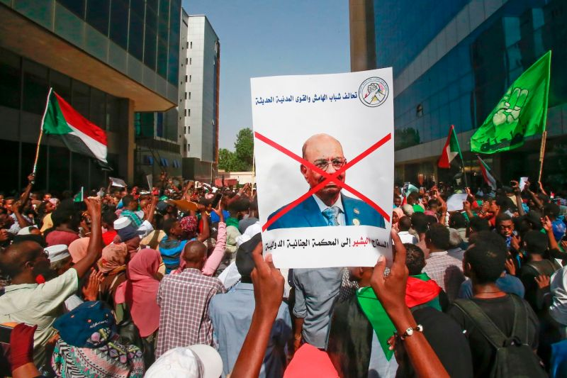 Demonstrators protest outside the Sudanese Justice Ministry in Khartoum on Sept. 19.