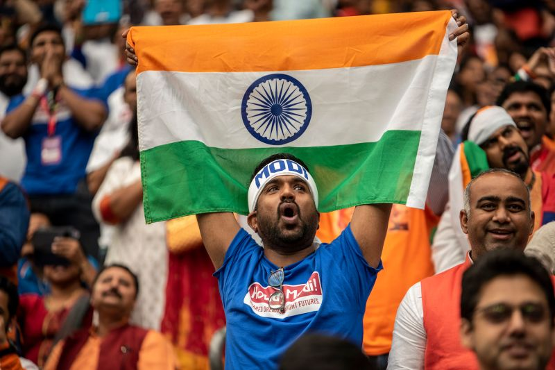 A supporter cheers as Indian Prime Minster Narendra Modi speaks in Houston on Sept. 22.