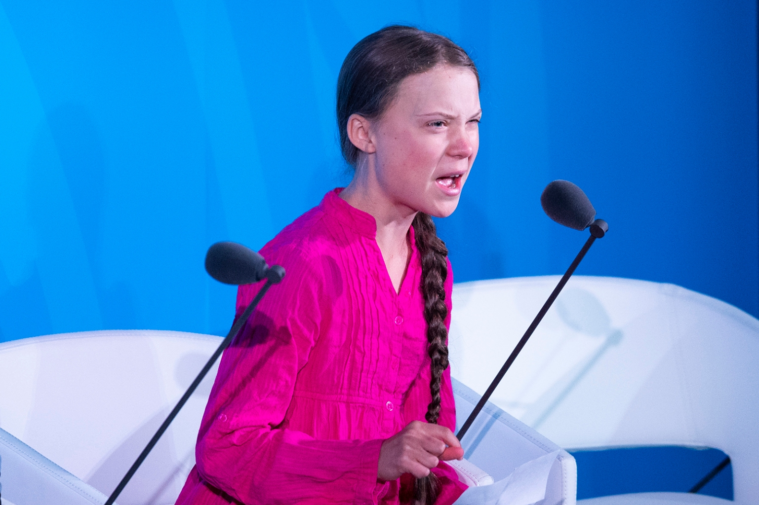 Climate activist Greta Thunberg speaks during the U.N. Climate Action Summit in New York City on Sept. 23. JOHANNES EISELE/AFP/Getty Images