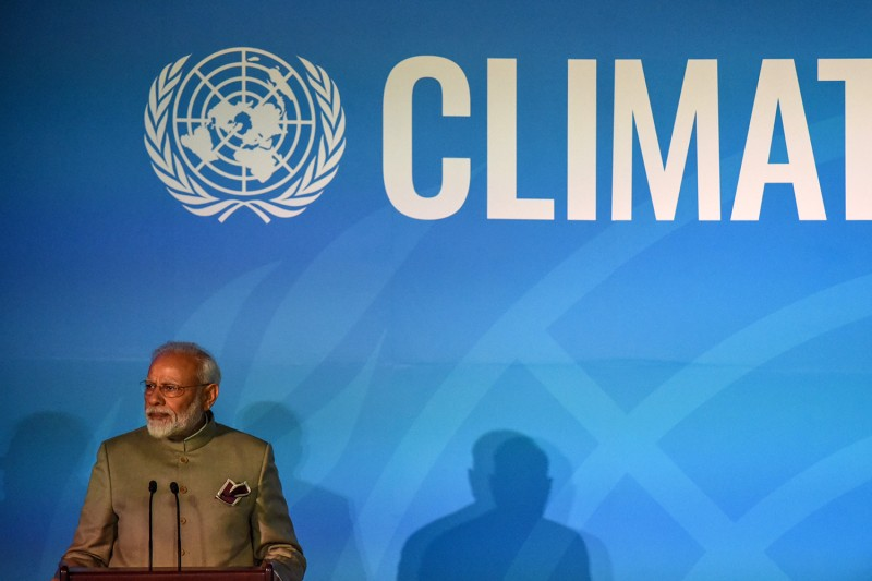 Indian Prime Minister Narendra Modi speaks at the Climate Action Summit at the United Nations on Sept. 23 in New York.