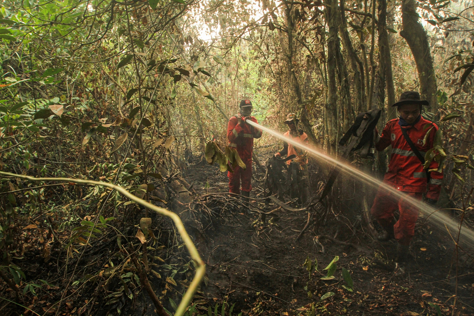 Indonesian firefighters battle a peatland forest fire in Ogan Ilir, South Sumatra, on Sept. 23. The blazes have been spewing toxic haze across Southeast Asia, forcing the closure of schools and airports, and prompting Jakarta to deploy thousands of personnel to tackle them. ABDUL QODIR/AFP/Getty Images