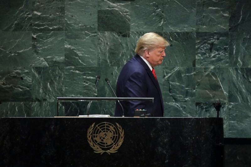 U.S. President Donald Trump exits after speaking at the U.N. General Assembly in New York City on Sept. 24.