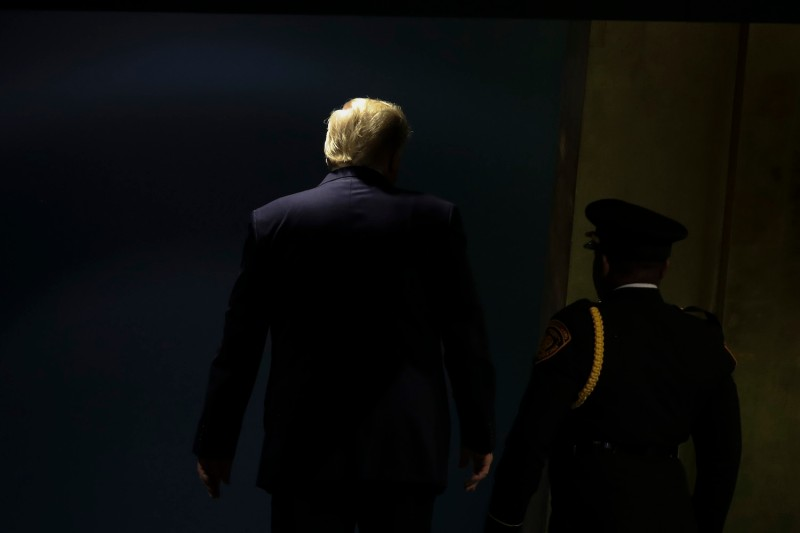 U.S. President Donald Trump exits after speaking at the United Nations General Assembly at U.N. headquarters in New York on Sept. 24.