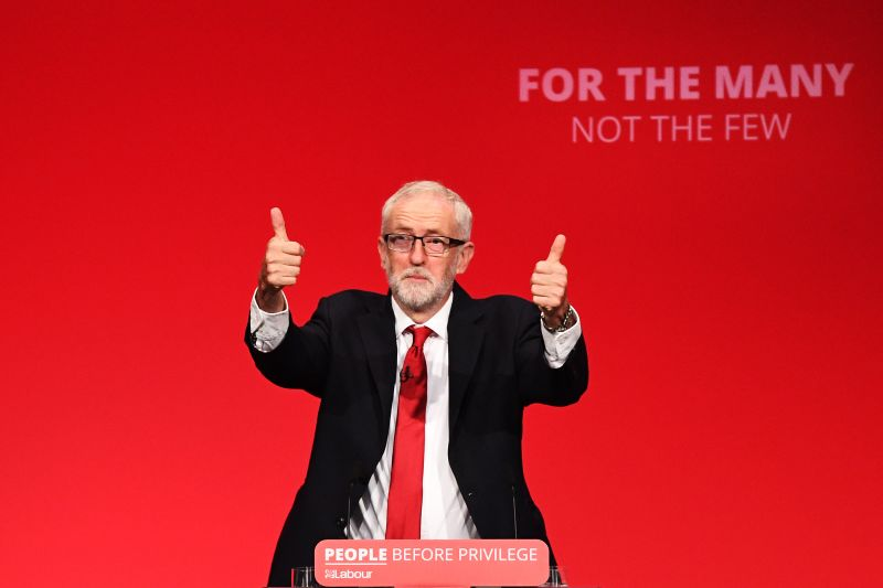 Labour leader Jeremy Corbyn addresses conference in his keynote speech on September 24, 2019 in Brighton, England.