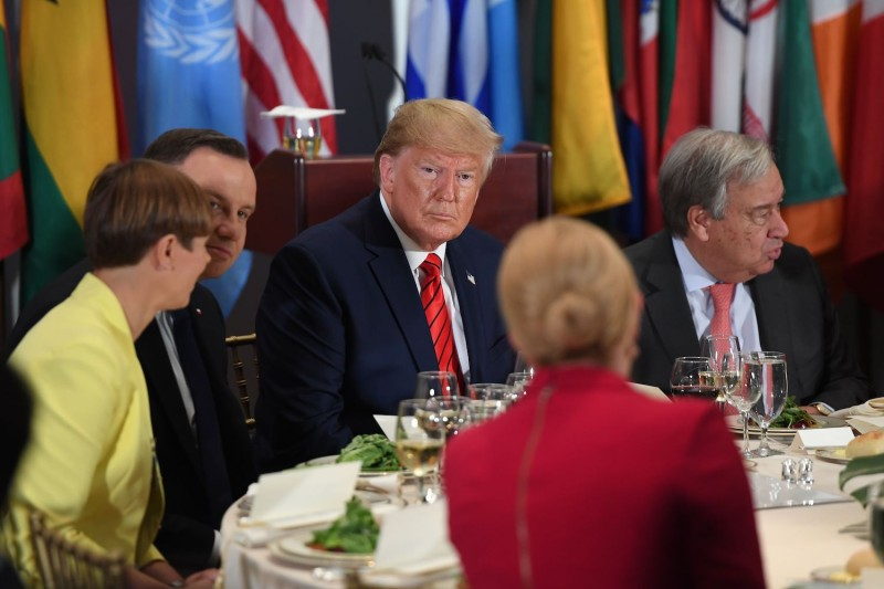 U.S. President Donald Trump attends a luncheon hosted by U.N. Secretary-General Antonio Guterres at the United Nations General Assembly in New York on Sept. 24.