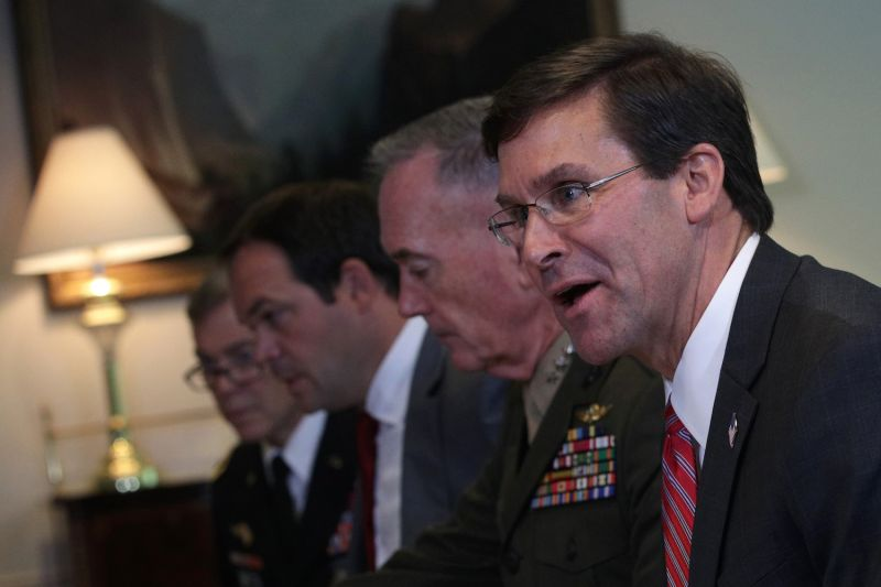 U.S. Secretary of Defense Mark Esper speaks during a bilateral meeting with Vice Minister of Defense of Saudi Arabia Prince Khalid bin Salman at the Pentagon August 29, 2019 in Arlington, Virginia. (Photo by Alex Wong/Getty Images)