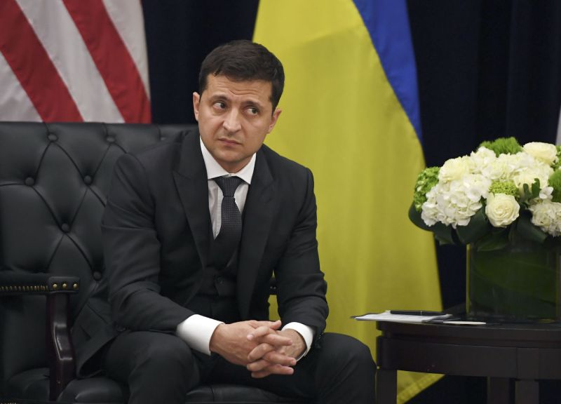 Ukrainian President Volodymyr Zelensky looks on during a meeting with U.S. President Donald Trump in New York on Sept. 25.