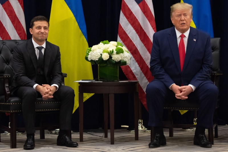 U.S. President Donald Trump and Ukrainian President Volodymyr Zelensky speak on the sidelines of the United Nations General Assembly in New York on Sept. 25.