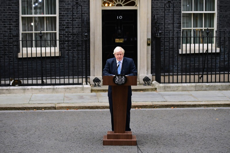 British Prime Minister Boris Johnson delivers a speech at 10 Downing Street on September 2.