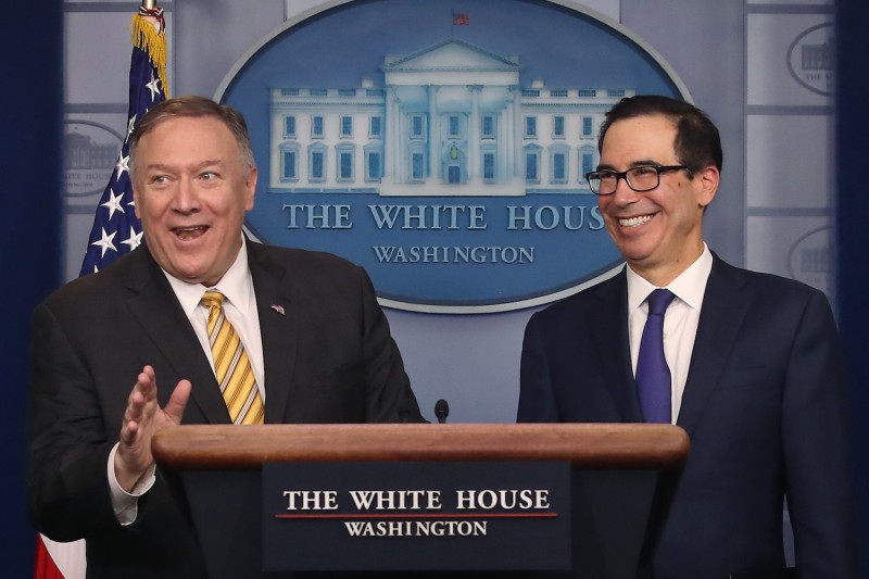 U.S. Secretary of State Mike Pompeo and Treasury Secretary Steven Mnuchin brief reporters in the James Brady briefing room at the White House on Sept. 10.