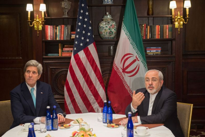 U.S. Secretary of State John Kerry meets with Iranian Foreign Minister Mohammad Javad Zarif in New York on April 22, 2016.