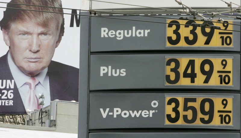 Gasoline prices are displayed on a sign at a Shell gas station as an image of Donald Trump appears on a billboard nearby April 24, 2006 in San Francisco, California.