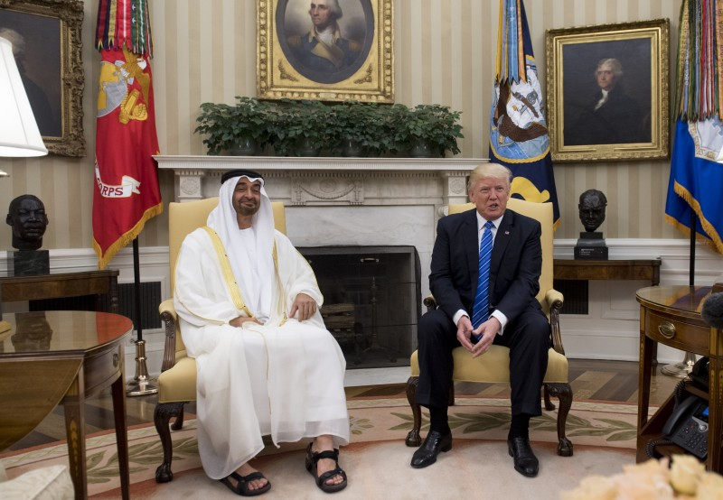 U.S. President Donald Trump meets with Crown Prince Mohammed Bin Zayed Al Nahyan of Abu Dhabi in the Oval Office of the White House in Washington, DC, May 15, 2017.