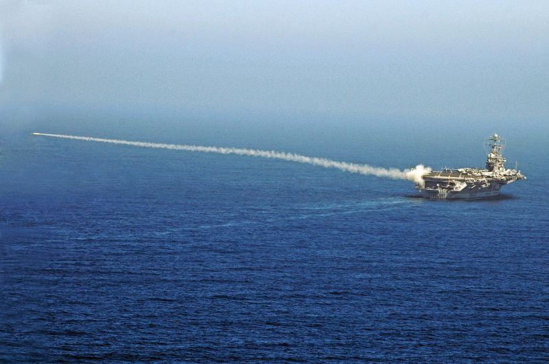 In this handout photo provided by the U.S. Navy, a RIM-7P NATO Sea Sparrow missile launches from the USS Abraham Lincoln during an exercise on Aug. 13, 2007.
