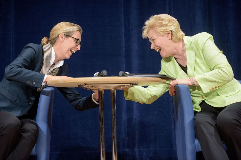 Alice Weidel speeks with former Christian Democrat Erika Steinbach during an AfD election campaign event on Sept. 6, 2017 in Pforzheim, Germany.