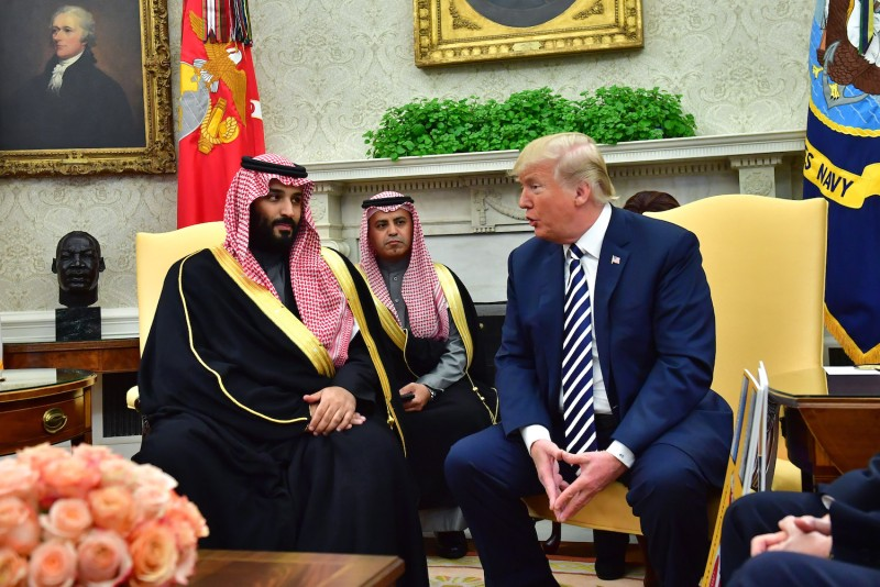 U.S. President Donald Trump meets Saudi Crown Prince Mohammed bin Salman in the Oval Office at the White House on March 20, 2018.