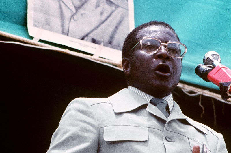 Robert Mugabe gives a speech in Harare, Zimbabwe, in March 1980.