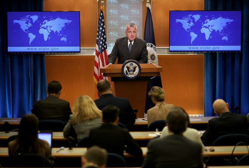 U.S. Deputy Secretary of State John Sullivan, then acting secretary of state, addresses press at the U.S. Department of State in Washington on April 20, 2018.