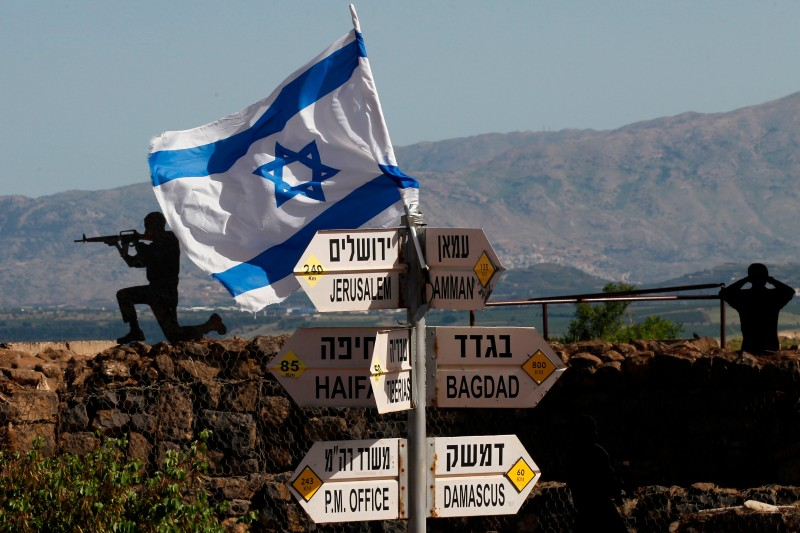 An Israeli flag is seen placed on Mount Bental in the Israeli-annexed Golan Heights on May 10, 2018.
