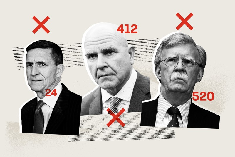 U.S. President Donald Trump's former national security advisors Michael Flynn, H.R. McMaster, and John Bolton.
