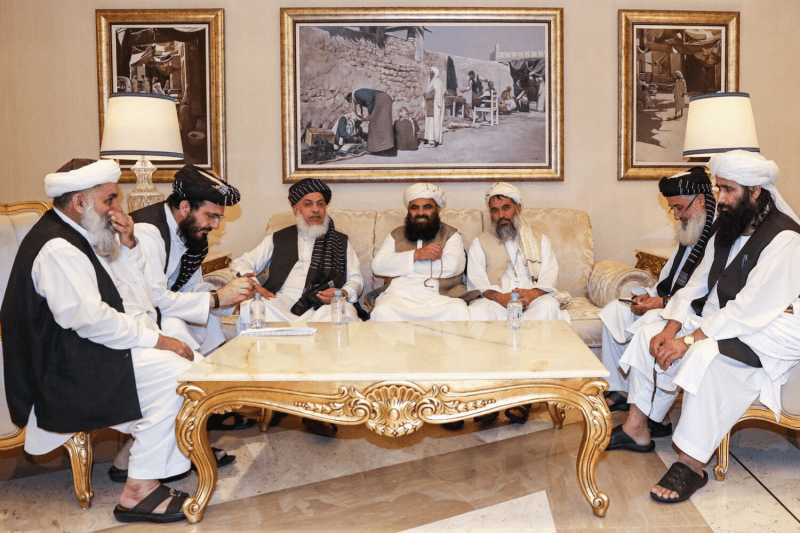 Taliban members attend Intra-Afghan Dialogue talks in Doha, Qatar, on July 8.