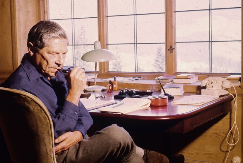"The Hungarian-born author Arthur Koestler, best known for his novel ""Darkness At Noon,"" at his home in Alpbach, Austria."