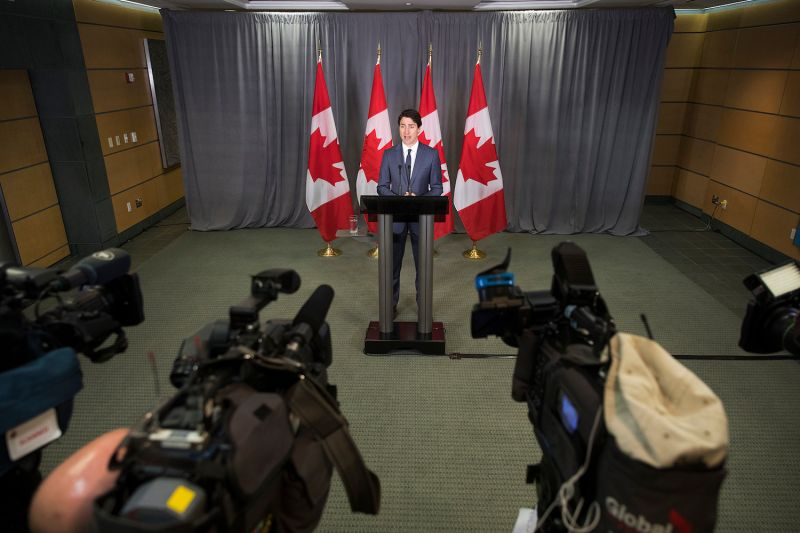 Canadian Prime Minister Justin Trudeau speaks during a news conference at the Canadian Consulate General in New York City on May 17, 2018.