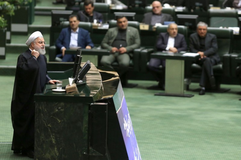 Iran's President Hassan Rouhani speaks at parliament in Tehran on Sept. 3.