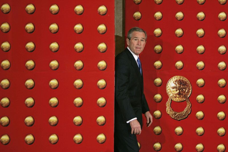 U.S. President George W. Bush after meeting with Chinese President Hu Jintao and Premier Wen Jiabao in Beijing.