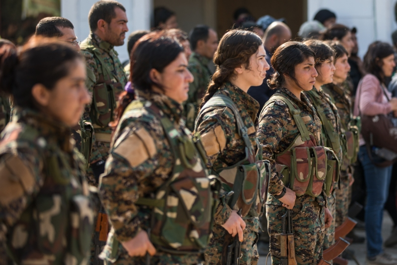 Members of the Syrian Democratic Forces in Deir Ezzor, Syria.