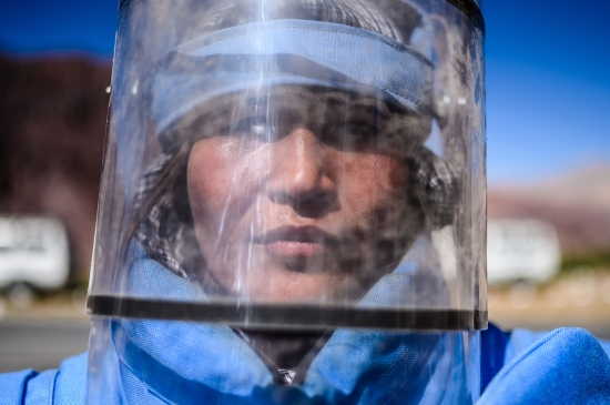Marfat in her protective helmet in Bamiyan on Sept. 18.
