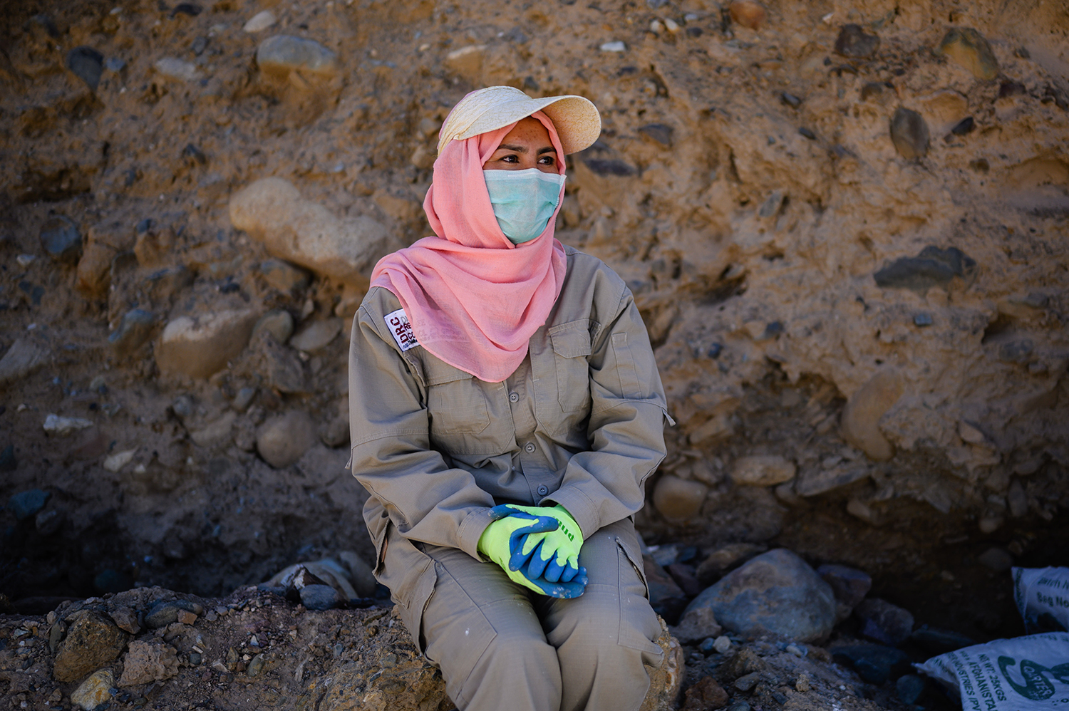 Jamila, a 34-year-old member of the demining crew, in Bamiyan on Sept. 18.