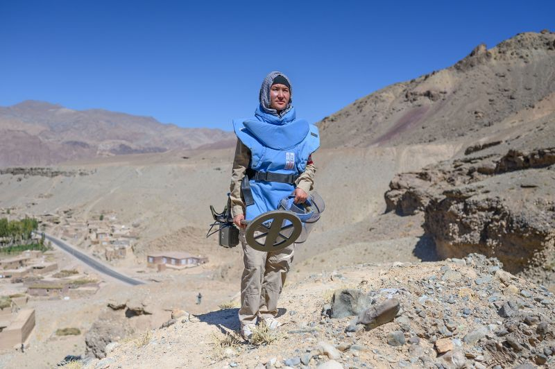 Layegha Marfat, 22, works on the demining team in Bamiyan, Afghanistan, on Sept. 18.