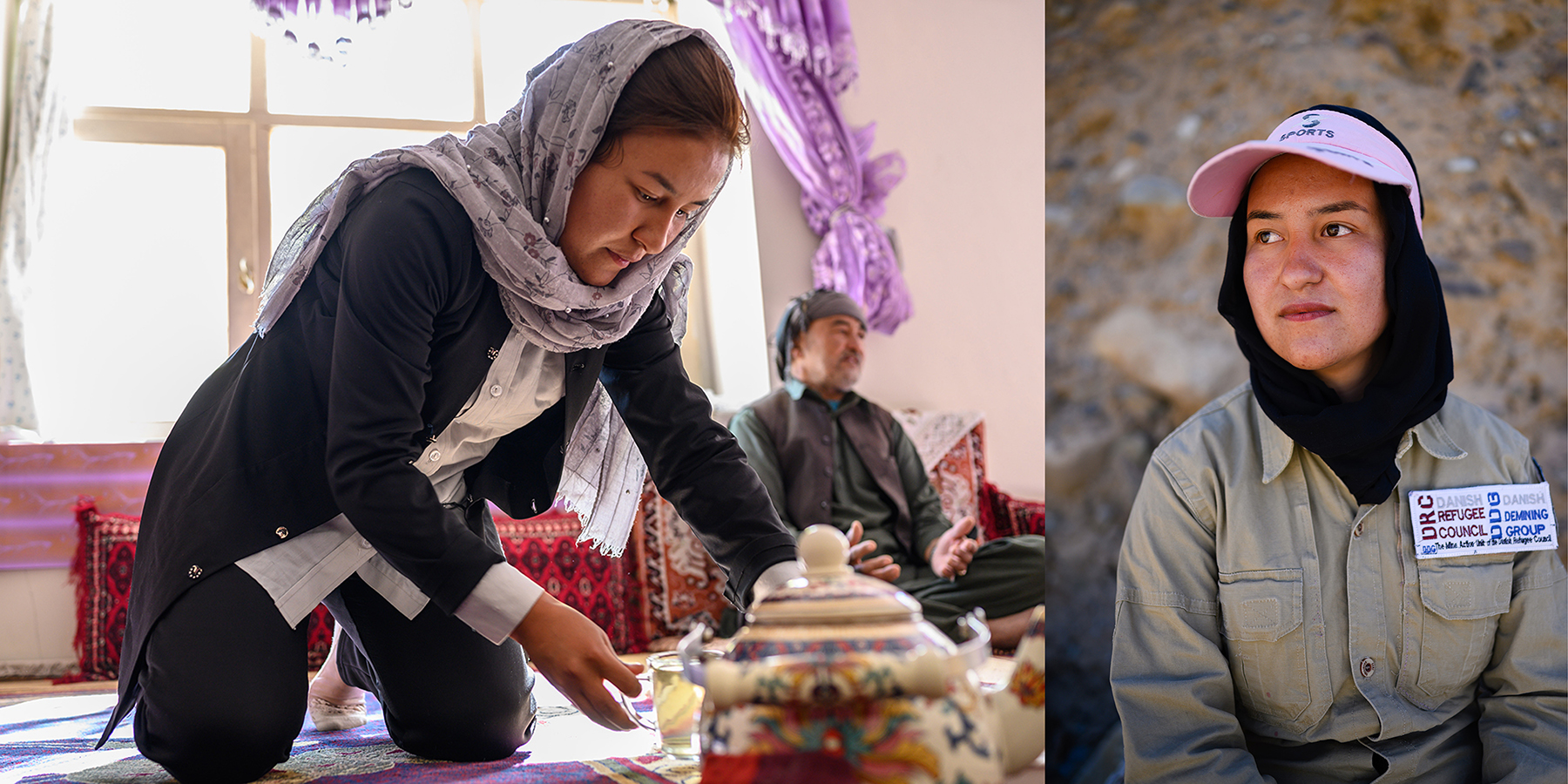 Zarah Atayee, who at 21 is the youngest woman on the demining team, at home with her father, who used to work as a deminer himself, and in the field in Bamiyan on Sept. 18.