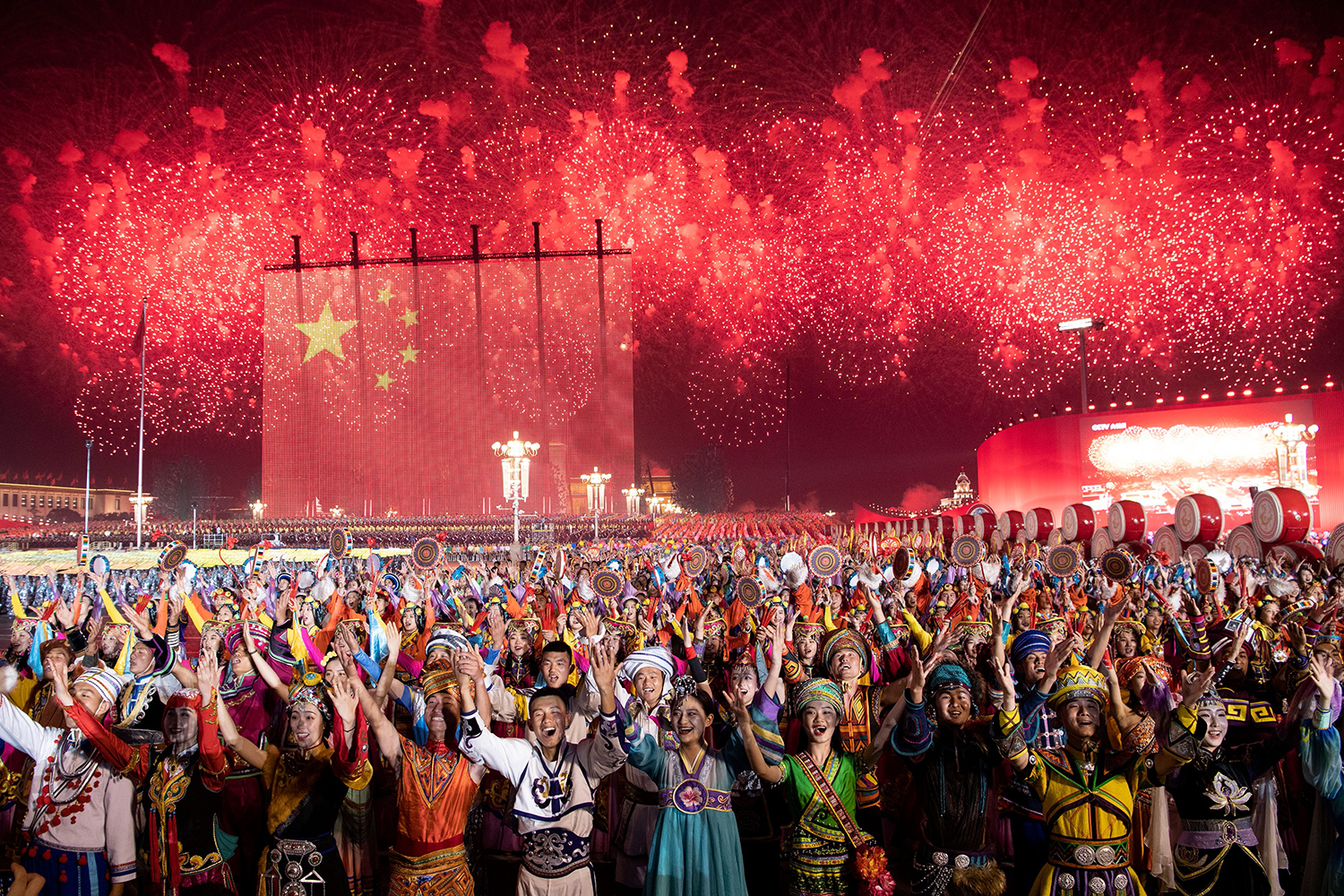 Chinese participants take part in a gala in Tiananmen Square to mark the 70th anniversary of the founding of the People's Republic of China in Beijing on Oct. 1. NOEL CELIS/AFP/Getty Images